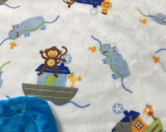 Minky Blanket - Noah's Ark Print Minky with Bright Blue Dimple Dot Minky Backing - great for baby or toddler