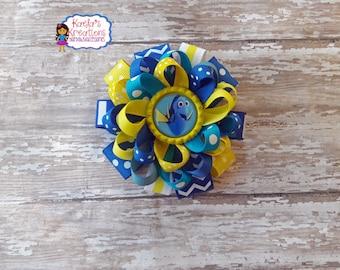 Dory Hair Bows,Finding Dory Hair Bows,Dory Nemo Hair Bows,Blue and Yellow Dory Hair Bows,Blue Dory Hair Bows,Dory Loopy Layers Hair Bows.
