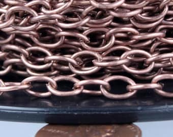 Antique Copper Chain Bulk Chain, 10 ft of Big Chunky Cable Chain - 6.8x4.8mm 1.0mm Unsoldered Link Necklace Bracelet Wholesale Chain