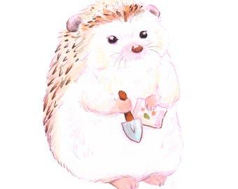 hedgehog art, hedgehog gift, woodland, woodland nursery, woodland animals, woodland nursery decor, garden gift,  garden art