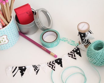 Black White Bunting. Fabric Ribbon for gift wrapping. Custom cake top. diy planning. graduation party, dad birthday, cake smash. Balloon tie