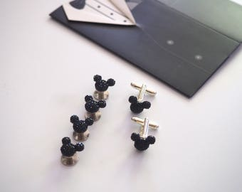 Disney Inspired Hidden Mickeys Tuxedo Studs and Cufflinks