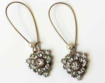 Crystal Heart Earrings Swarovski Heart Earrings Art Deco Earrings Crystal Drop Earrings Valentine Crystal Heart Earrings Bridesmaids Gifts