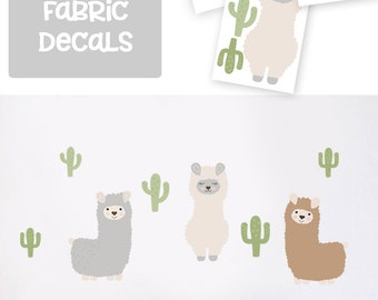 Llama wall decal/ Llama nursery art/ llama fabric decals/ cute alpaca decals/ Cactus wall decals/ Llama wall decor/ alpaca decals