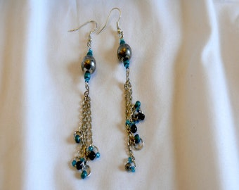 Black, Silver and Teal Earrings