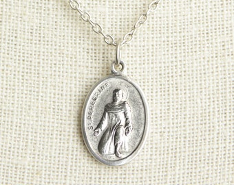 St peregrine etsy saint peregrine medal necklace st peregrine necklace catholic necklace patron saint necklace mozeypictures Image collections
