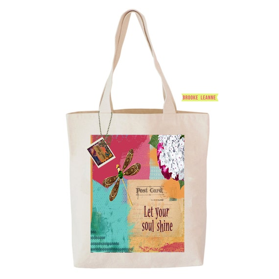 Quote Tote Bag, Reusable Shopper Bag, Farmers Market Bag, Cotton Tote, Shopping Bag, Eco Tote Bag, Reusable Grocery Bag, Printed in USA