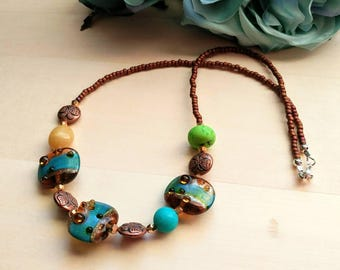 Artisan Lampwork Copper and Turquoise Beaded Necklace