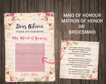 Unique Maid Of Honor Thank You Gift Maid Of Honor Thank You Card Bridesmaid Thank You Note Bridesmaid Thank You Card Bridesmaid Gift