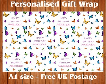 """Personalised Birthday Wrapping Paper with 2 Tags.  """"Butterflies""""."""
