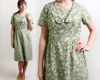 Vintage Floral Dress - 1960s Cotton Day Dress in Mint Clover Green - Large - Spring