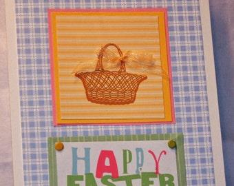 Light Blue Plaid Happy Easter Card