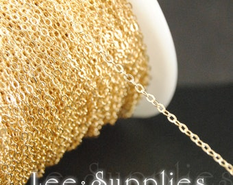1.5x1mm KC Gold Chain Flat Cable Necklace Chain - Soldered C08