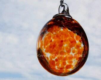 Orange Hand Blown Glass Ornament, Glass Suncatcher Ornament, Blown Glass Garden Ornament Size Large