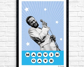 Marvin Gaye - Superstar, Soul Singer, Music Print, Legend, Music Gift, Music Typography, Poster Design, A4, A3.