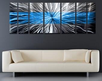"Large Metal Wall Art Panels Modern Silver Metal Wall Art Work Painting Aluminum Sculpture Contemporary Home Decor ""Cosmic Energy, Blue"""