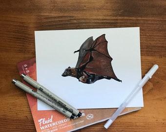 Fruit Bat Family / Gouache Painting
