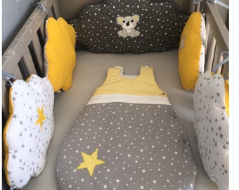 Round white bed clouds with koala gray cotton starry, starry and mustard yellow with stars