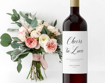 Wedding Wine Labels, Wedding Wine Bottle Labels, Cheers to Love, Custom Wine Labels, Bridal Shower Labels, Personalized Wine Labels