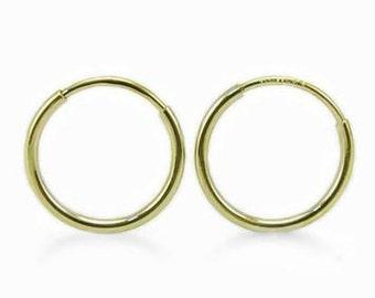 14K Yellow Gold Hoop Earrings - 14K Small Plain Endless Round Hoop Earrings - 10 x 1mm - Minimalist Earrings - Gift for Her