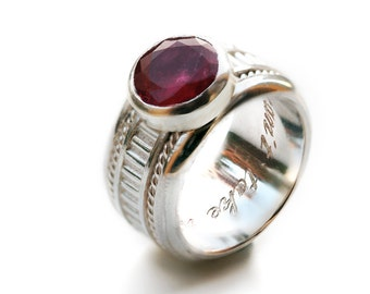 Unique modern engagement ring,love pink tourmaline stone ring, gift for women