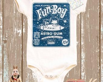 Retro Baby Gift, Astro Gum, Organic Onesie, Baby Boy, Baby Gift, Organic Bodysuit, Vintage Graphic, One Piece Shirt, Shower Gift