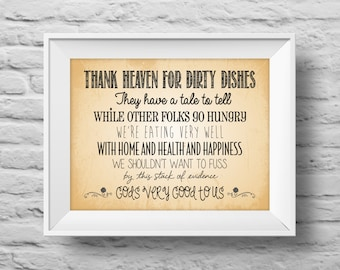 Thank Heaven for Dirty Dishes unframed art print Typographic poster, inspirational print, kitchen, wall decor, quote art. (R&R0112)
