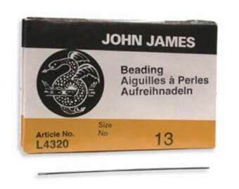 John James Size 13 English Beading Needles Qty 25 Needle for Bead Weaving 13/0