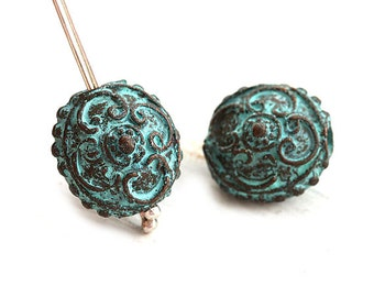 15mm Metal Disk beads Green patina Copper lentil bead Ornament round Greek bead Lead Free 2Pc - F338