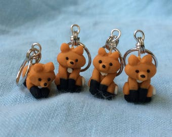 Cute Fox, Knitting Helpers, Clay Stitch Markers, Polymer Clay Fox, Crochet Notions, Knitting Accessories, Crochet Help, Cute Animal Set of 4