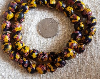 Black , yellow and red recycled Krobo beads