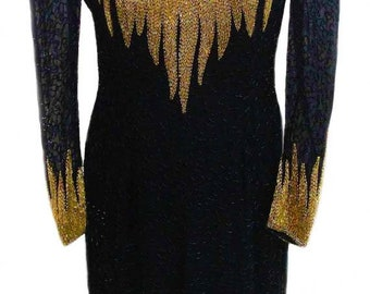 Vintage Dress by Black Tie / Black and Gold Beading / Long Semi Sheer Sleeves / Dramatic Neckline - Fits Size Small (US Sz 4)