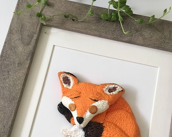 Handcrafted Clay Fox - Framed