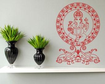 Wall Decal Sticker Indian God Om Elephant Hindu Success Buddha India Ganesha Ganesh Hindu Welfare Bedroom Meditation Yoga Room Decor ZX681