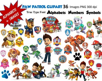 Full Alphabet & 36 PAW PATROL Clipart Images  300 DPI Transparent Background True Type Font