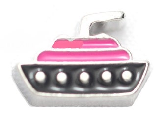 Pink Cruise Ship Floating Locket Charm Living Memory Lockets Jewelry Making Supplies - 62P
