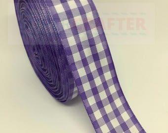 Gingham Scottish Tartan Polyester Double Sided Ribbon Purple 25mm Bows