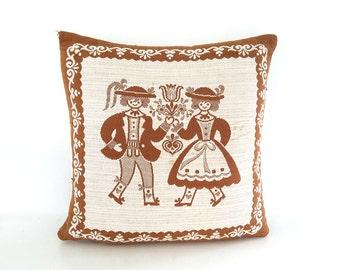 "The Dutch Folk Dance Embroidered Decorative Throw Pillow Granola x Oatmeal Crosshatch Cotton 16"" x 16"": Vintage Pillow, Home Decor"