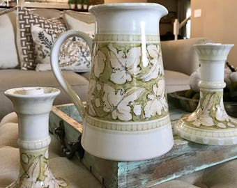 Hand painted Italian Pitcher & Candle Holder Set Grape Leaves - Ivy Leaves Green Peach Artist Signed Arti Minori Lecchi in Chianti TYCAALAK