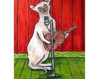 cat art - Siamese Cat Singer Songwriter Art Print, cat gifts, gift