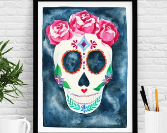 Poster Skull decor. Mexican Skull. Bohemian decor. Free shipping. Sale. Limited Edition. Skull painting. Day of the dead. Special gift.