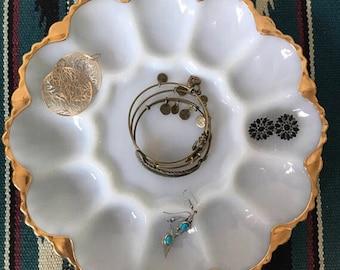 Milk Glass Jewelry Tray