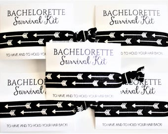Bachelorette Party Favors / Hair Ties / Bachelorette Survival Kit / Party Favors / Wedding Hair Ties / Thank You Gift / Black & Silver / 1ct