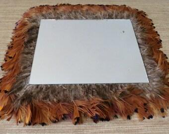 Vintage Mirror With Bird Feathers - Boho Decor