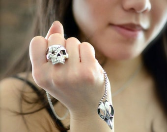 Sterling Silver Flower Patch Pirate Skull Sugar Skull Statement Ring, Biker Ring, Rocker Ring, Goth Jewelry, Alternative Jewelry