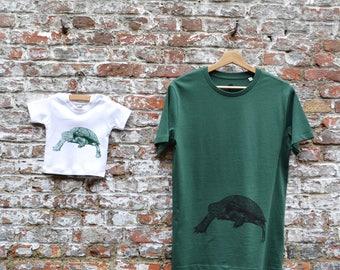 Papa en Baby T-shirt Set met schildpad print - Vaderdag geschenk baby - Vader en zoon bijpassende T-shirts - groen zacht bio katoen
