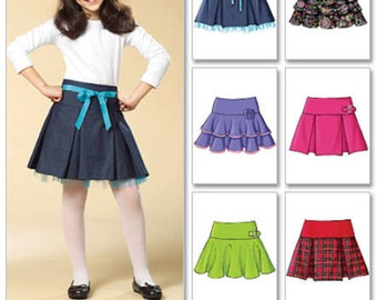 GIRLS SKIRT PATTERN / Pleated - Flared - Ruffled / Sizes 3 to 6 / School Clothes