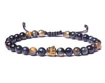 Bead Bracelet for Men - Beaded Golden Tiger Eye Men's Bracelet - Jewelry for Men - Bracelets for Men - Blue men's bracelet - Buddha Bracelet