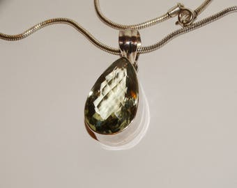 Sterling Silver Thick Snake Chain With A Large Prasiolite Stone Necklace.