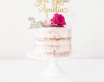 God Bless Name Cake Topper | Baptism | Personalized | Metallic | Gold | Glitter | Wood | Rose Gold | Custom